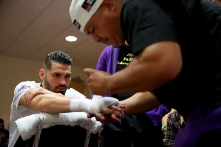 Jose Ramirez is focused and intense as he's taped up moments before his nationally televised fight on ESPN whe