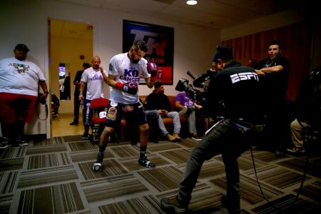Jose Ramirez is focused and intense as he's taped up moments before his nationally televised fight on ESPN where he defended his WBC super lightweight title in front of 14,000-plus fans at the Save Mart Center at Fresno State, the University he attended for three semesters before his Olympic training began.