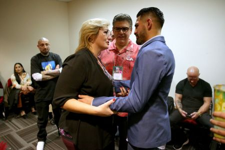 Fresno State President Joseph I. Castro and first lady Mary Castro, who have long supported the former Fresno State student, met Ramirez in his locker room after the fight to congratulate him.