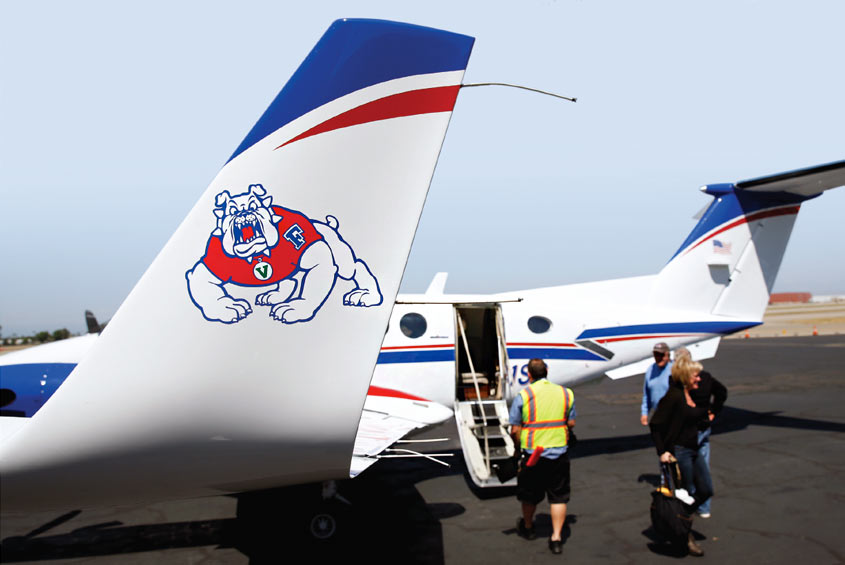 Airplane with Bulldog logo