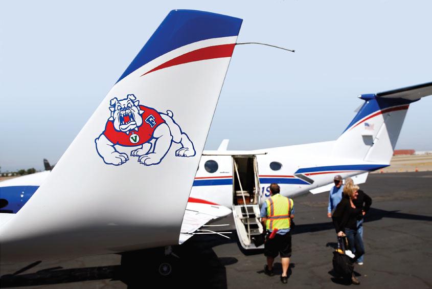 Airplane with Bulldog logo