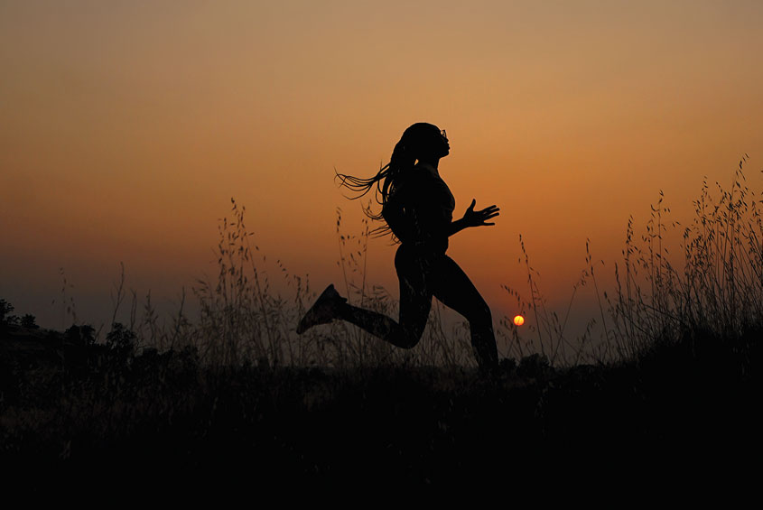 Running Student in the evening